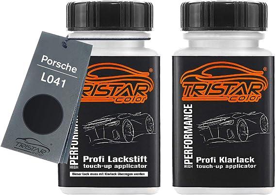 Tristarcolor Autolack Lackstift Set Für Porsche L041 Tief Schwarz Black Basislack Klarlack Je 50ml Auto