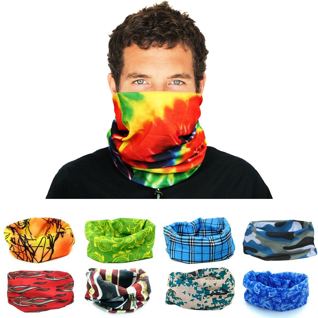 kilofly Multi-purpose Seamless Headwear Bandanas Mixed Set Value Pack [Set of 8] AHH405set8B