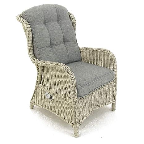 Sillón reclinable para jardín, Aluminio y rattán sintético, Blanco Envejecido, Tamaño:64x80x105 cm