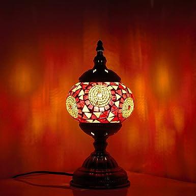 Lámpara Turca Mesa Mosaico de cristal hecho a Mano, Bombilla ...