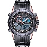 Mens Sports Watch Analog Multifunction Backlight Watch Digital Watches Black Silicone Band Big Face