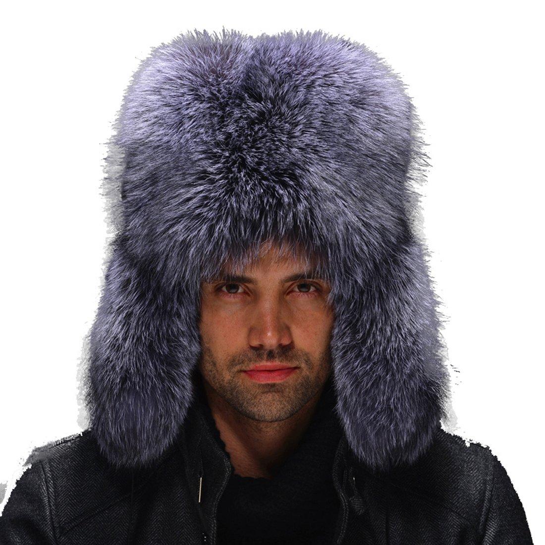 URSFUR Men's Silver Fox Full Fur Russian Hats Natural Color