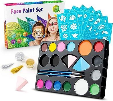 Jelife Pintura Facial para Niños y Adultos Kit de Pintura de la Cara 14 Colores Maquillaje Niños Infantiles para Carnaval Fiestas Temáticas Cosplay Cumpleaños Navidad: Amazon.es: Juguetes y juegos