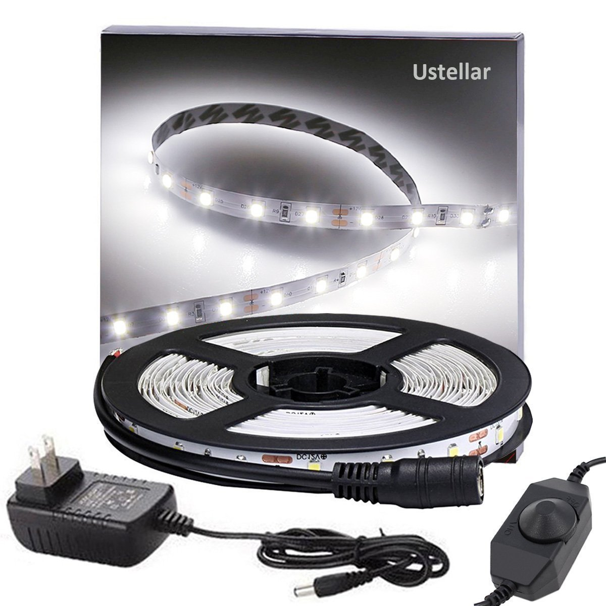 Ustellar Dimmable LED Light Strip Kit, 300 Units SMD 2835 LEDs, 16.4ft/5m 12V LED Ribbon, 6000K Daylight White Under Cabinet Lighting Strips, Non-waterproof LED Tape, UL Listed Power Supply by Ustellar