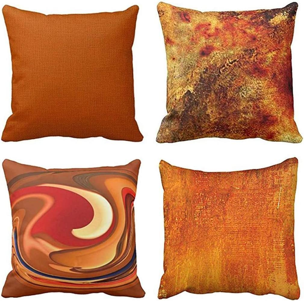 Emvency Set of 4 Throw Pillow Covers Burnt Orange Abstract Red 20 Tan Funky Watercolor Grunge Monochrome Decorative Pillow Cases Home Decor Square 16x16 Inches Pillowcases