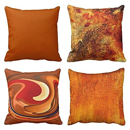32bcc4cf36b Emvency Set of 4 Throw Pillow Covers Burnt Orange Abstract Red 20 Tan Funky  Watercolor Grunge