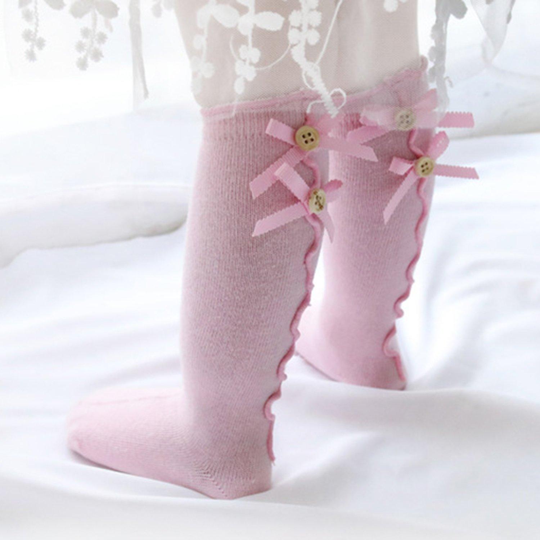 XPX Garment Arco Increspatura Calzini Lunghi Bambina Calzini Neonati Cotone Confezione da 5 Paia