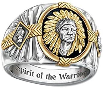 Indian Chief Ring for Men, Native American Indian Head Rings, Viking Buffalo Ring, Spirit of The Warrior Ring, Indian Headdress Ring, Amulet Ring, Tribal Alloy Ring Jewelry Gift for Men Boys