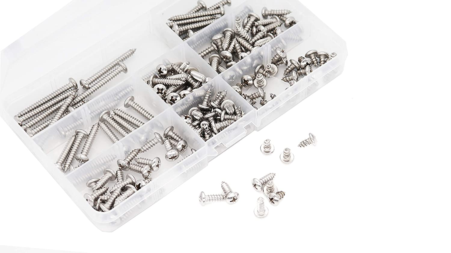 binifiMux 170pcs Round Head Phillips #8 Self Tapping Screws Assortment Kit 304 Stainless Steel
