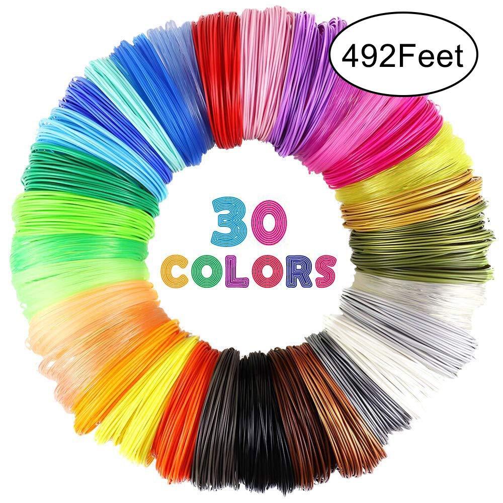 Total 150 Meters 16.4ft 6 Glow, 5 Fluo, 17 Common ,Each Color 5 Meters 16036 Aokin 3D Pen Filament Refills,3D Printer Filament,3D Printing Filament 1.75mm PLA Filaments Pack of 30 Different Colors 492ft