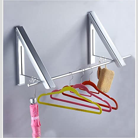 BIGWING Style-Percha Perchero de Pared Plegable Aluminio Doble con 4 Ganchos y 2 Palillos