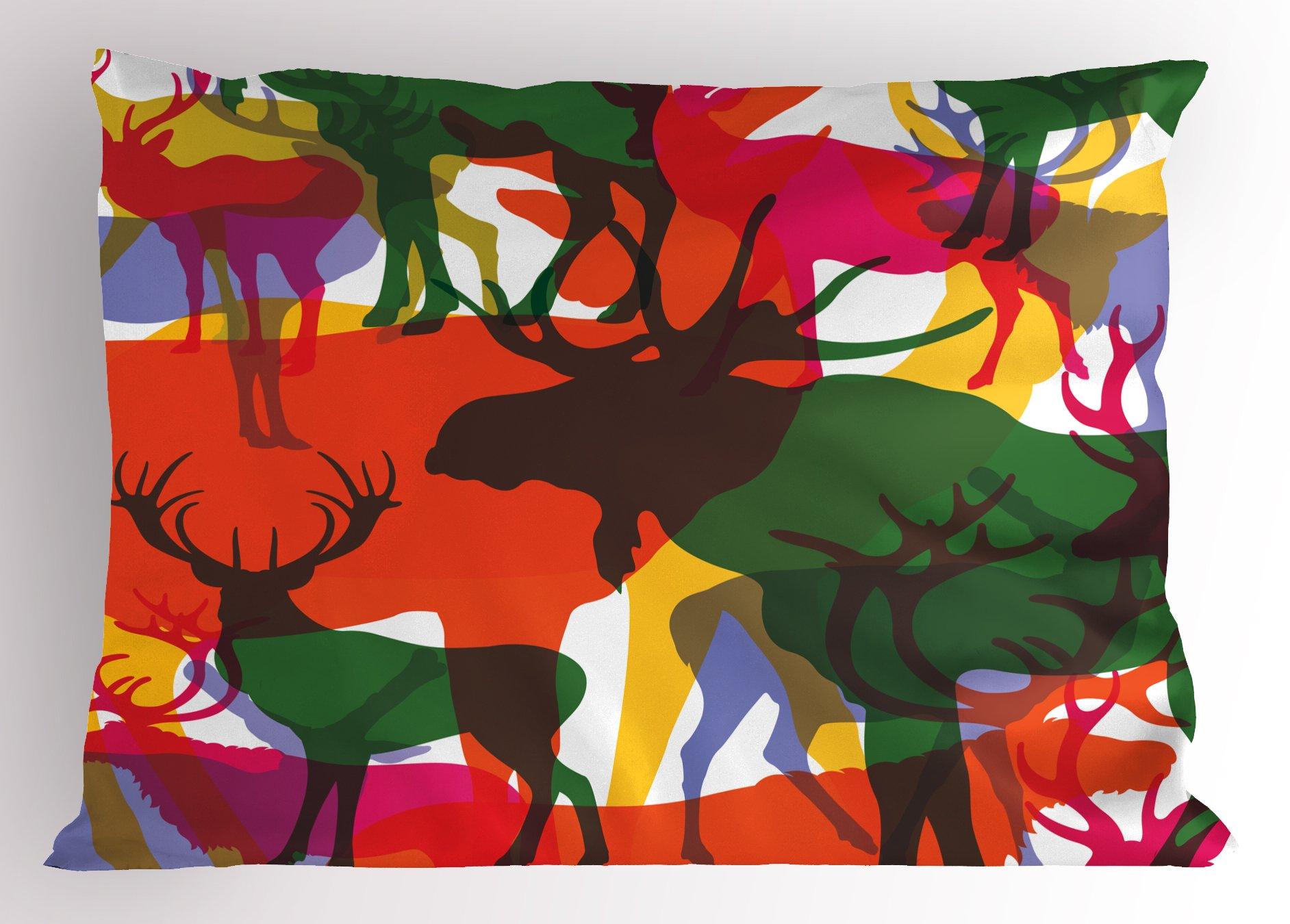 Ambesonne Antlers Decor Pillow Sham, Deer Moose and Mountain Sheep Horned Animals Abstract Illustration, Decorative Standard Size Printed Pillowcase, 26 X 20 inches, Multicolor