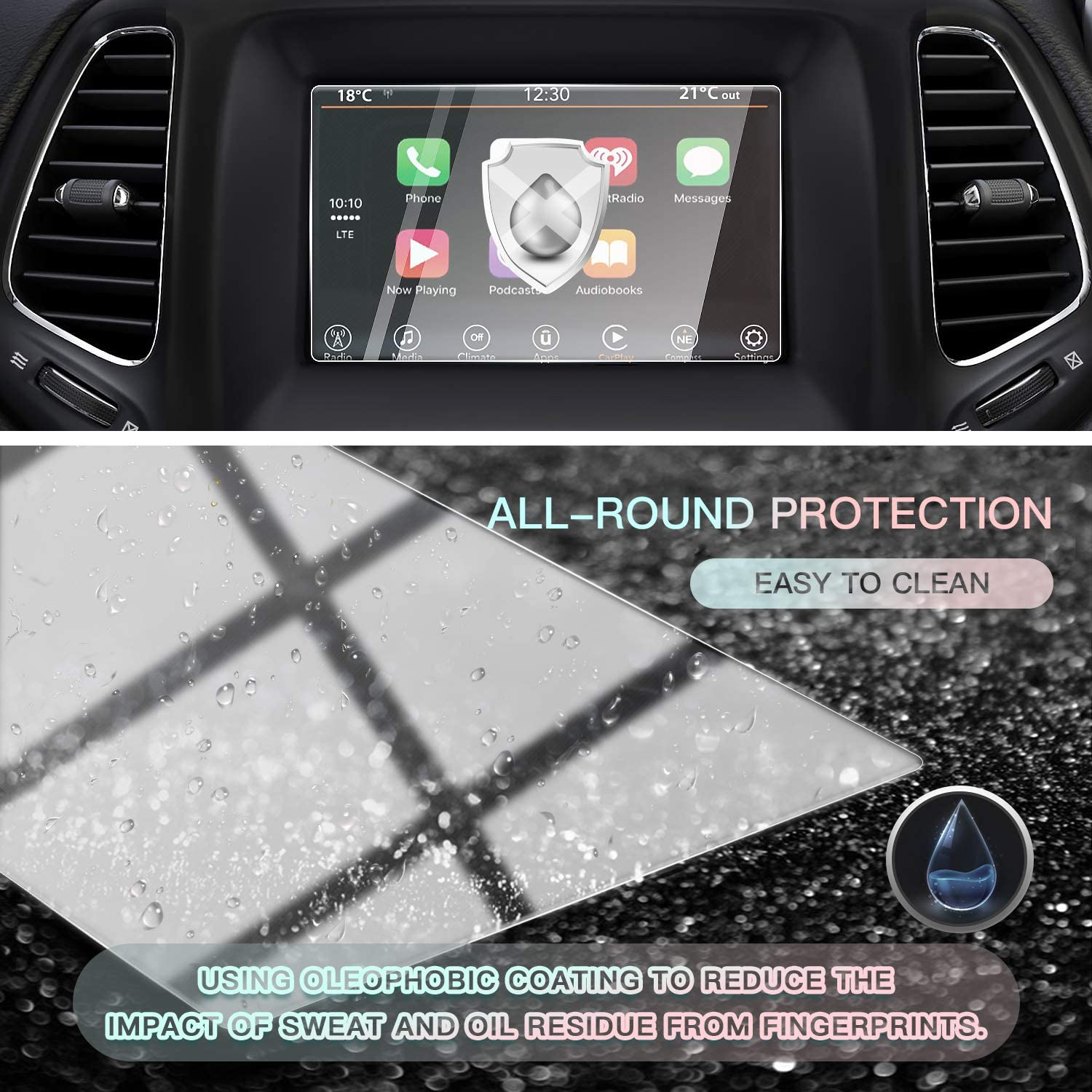 CDEFG Car Screen Protector Center Control Navigation Touch Screen Protector for Compass Uconnect 2017 2018 2019 Upgraded Tempered Glass HD Scratch Resistance 2017-2019 Jeep Compass 8.4-Inch