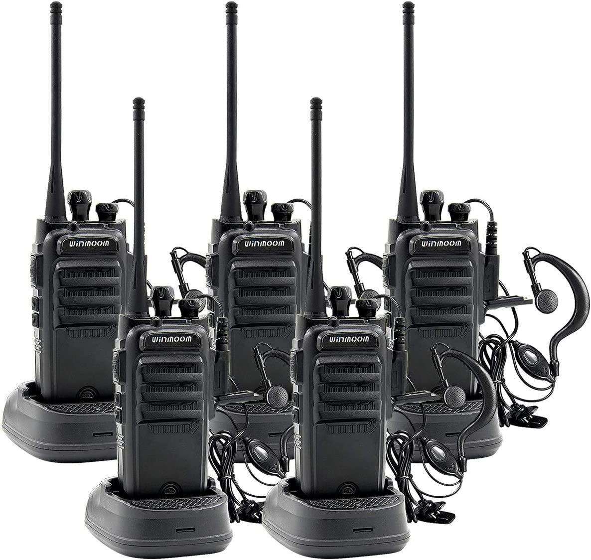 Winmoom Adult walkie talkies Rechargeable Long Range Two-Way Radios with Earpiece 5 Pack UHF 400-480Mhz 1800mAh Li-ion Battery and Charger Included