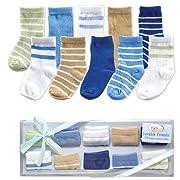 Luvable Friends Boys' 10-Piece Baby Socks Gift Set, Blue, 0-9 Months