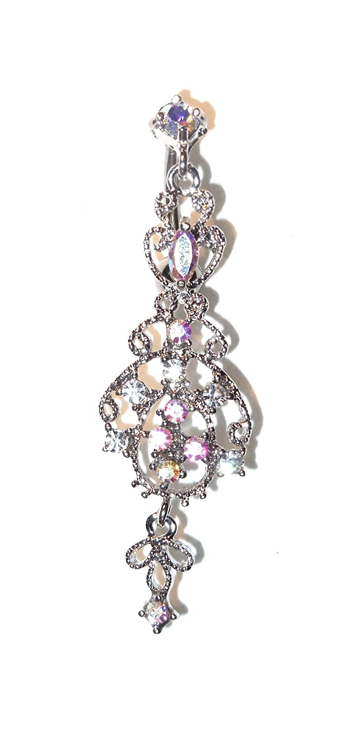 Amazon victorian style chandelier dangle belly navel ring amazon victorian style chandelier dangle belly navel ring 14 gauge 38 reversetop down hanging style style aurora borealis clear body mozeypictures Gallery