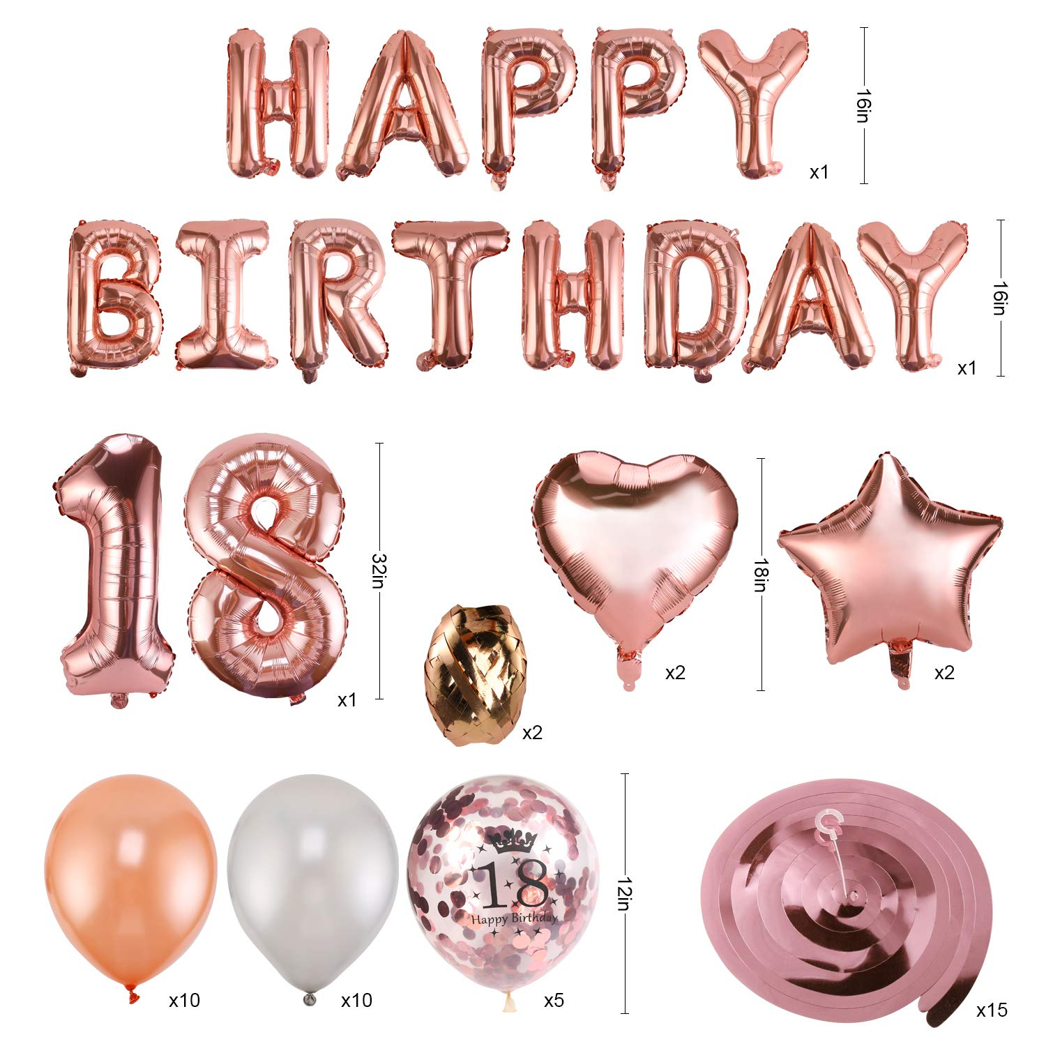 Konsait 59pack Rose Gold 18th Birthday Decorations for Women Girls 18 Birthday Party Supplies Happy Birthday Balloon Banner Rose Gold Hanging Swirls Confetti Latex Balloons Star Foil Balloons
