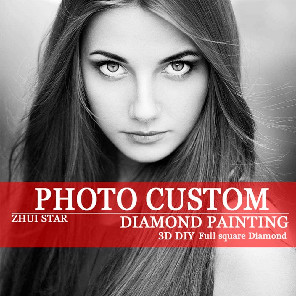 Custom Diamond Painting Kits for Adults,Full Drill Personalized Photo Family Wedding Photo with Round//Square Beads for Home Decor Round Beads, 11.7x11.7 inch