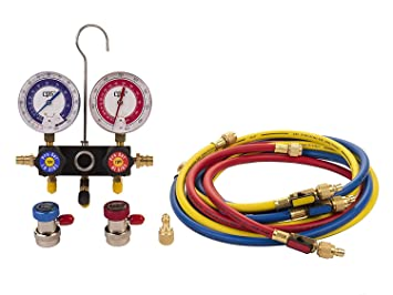 MASTERCOOL 98661-PRO Blue R134A and R-12 Dual Manifold Gauge Set with 60 Hose