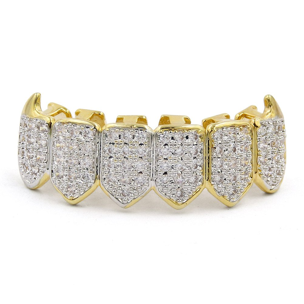 JINAO 18K Gold Plated Iced Out CZ Fang Top & Bottom Mouth Teeth Grills Set (Gold Bottom) by JINAO