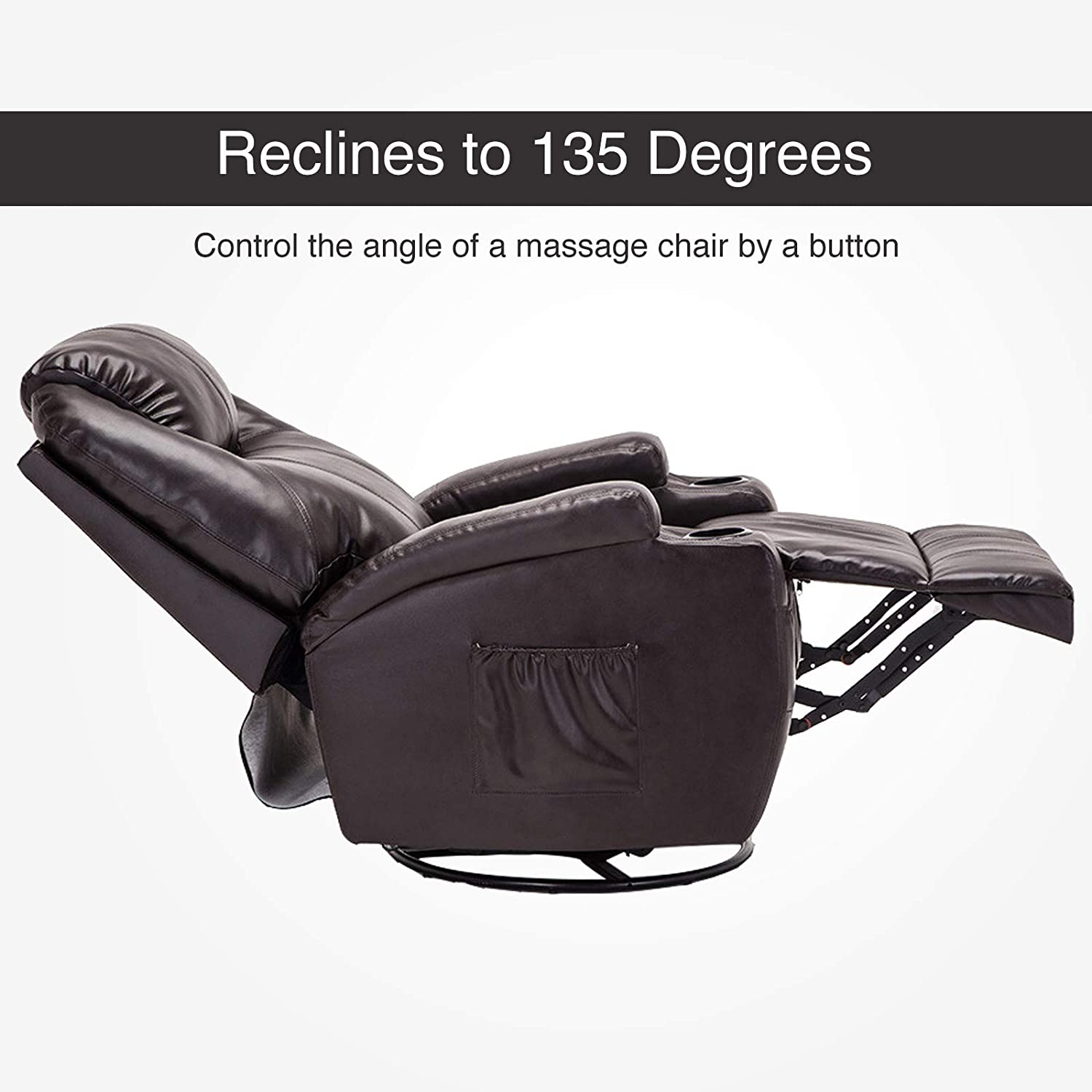 Amazon.com: Mecor Massage Recliner Chair Bonded Leather Heated Recling Living Room Lounge Sofa Chair w/360 Degree Swivel/Cup Holder/Remote (Brown): Kitchen ...