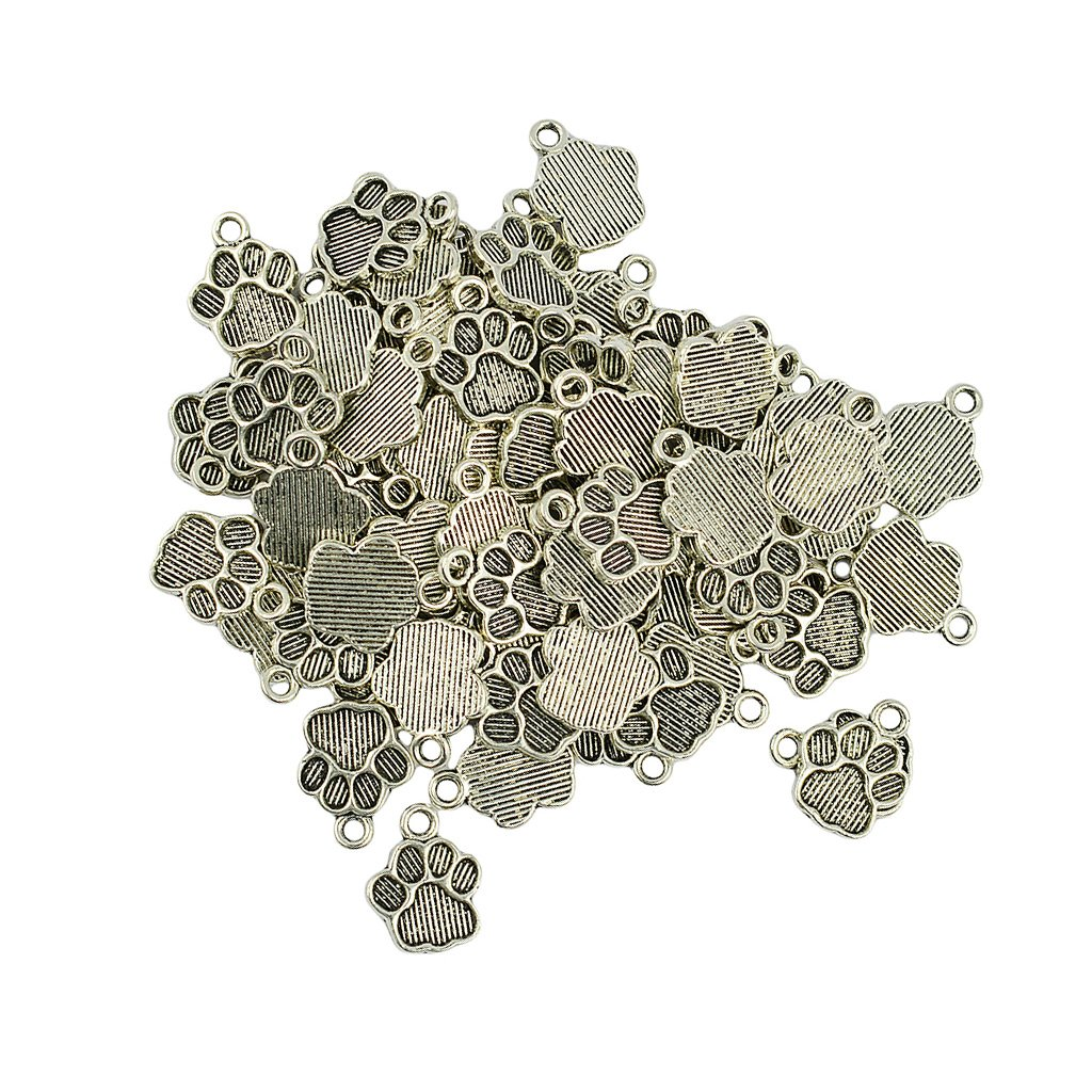 IPOTCH Pack of 50 Vintage Silver Dog Cat Paw Prints Pendants Charms Jewelry DIY Making Findings