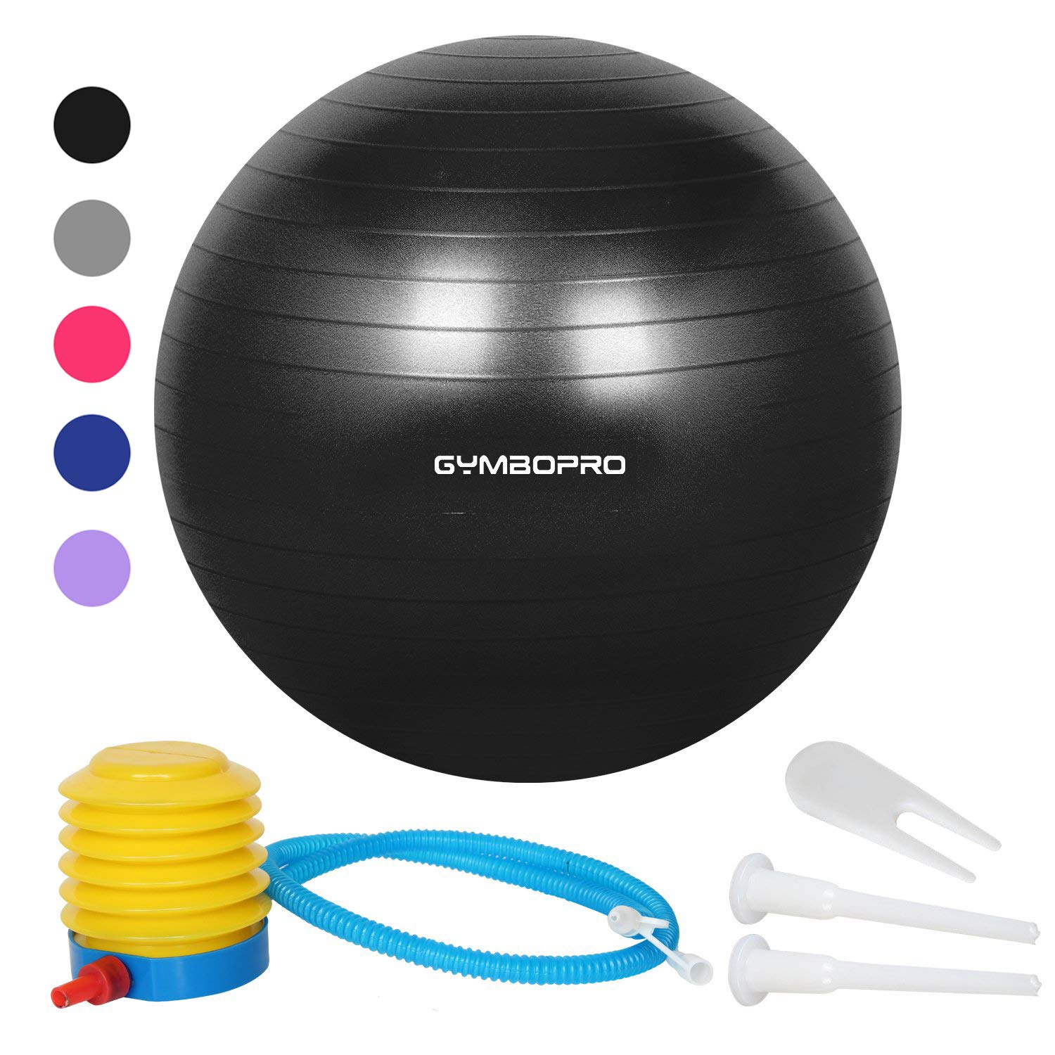 GYMBOPRO Exercise Ball (55-75cm) Heavy Duty Stability Ball Chair Anti Burst Birthing Ball with Quick Pump for Fitness, Balance, Pilates & Yoga