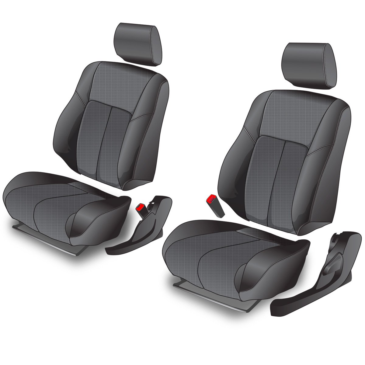 Clazzio 245811blk Black Leather Front Row Seat Cover for Toyota Rav4 Sports//Limited