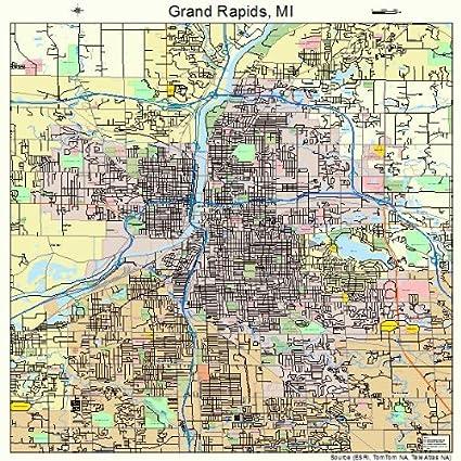 Map Of Grand Rapids Mi Amazon.com: Large Street & Road Map of Grand Rapids, Michigan MI