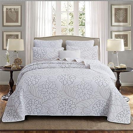 3-piezas de King Size colchas blancas 100% algodón ligero flor bordada remiendo acolchado colcha doble Lanza Coverlets de consolador con la funda de almohada 2, 250 x 270 cm,250 * 270cm: Amazon.es: Hogar