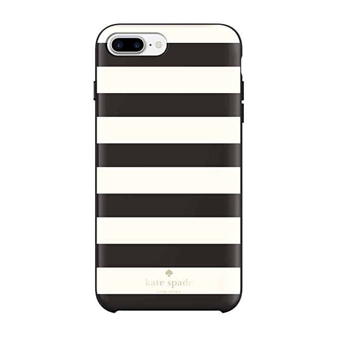 huge selection of e0deb d447d kate spade new york Protective Hardshell iPhone 7 Plus Case, Also  Compatible with iPhone 6 Plus, 6s Plus - Candy Stripe Cream/Black