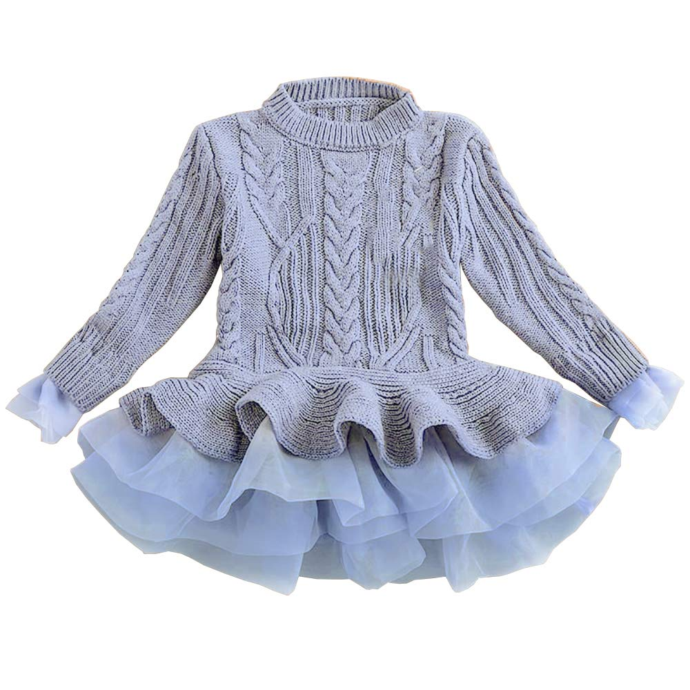 Girls Tutu Sweater Dress Cable Long Sleeve Ruffle Featuring Chunky Jumper Gray Size 6-7 T