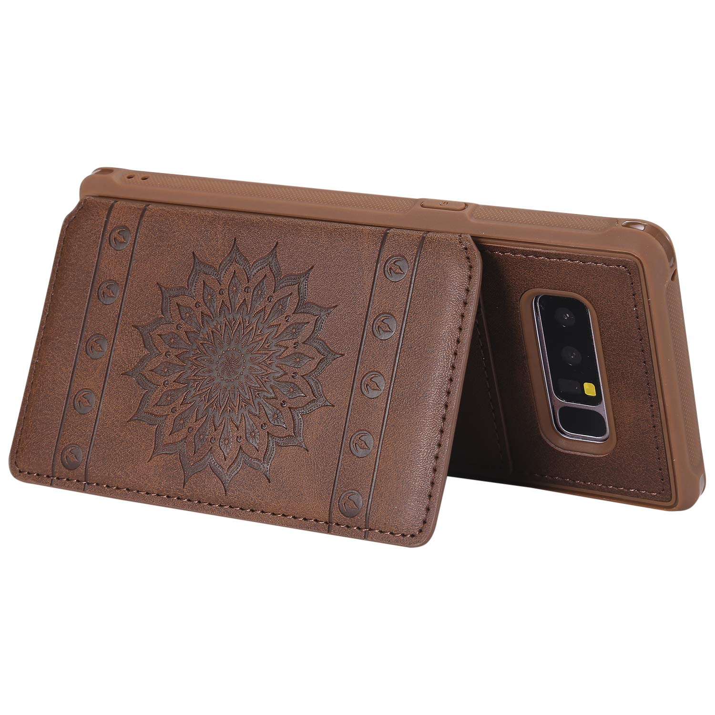 Galaxy Note 8 Case,DAMONDY Luxury Flower Sunflower Wallet Purse Card Holders Design Cover Soft Shockproof Bumper Flip Leather Kickstand Clasp Wrist Strap Case for Samsung Galaxy Note 8-Black