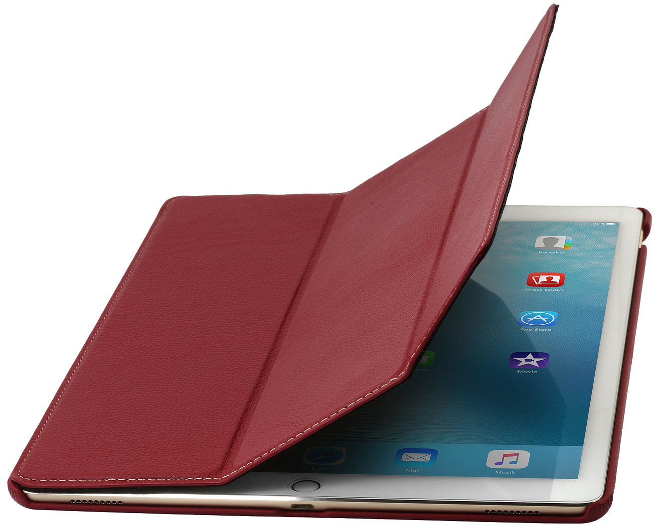 StilGut Couverture, Genuine Leather Case for Apple 12,9'' iPad Pro with Stand & Smart-Cover Function, Red