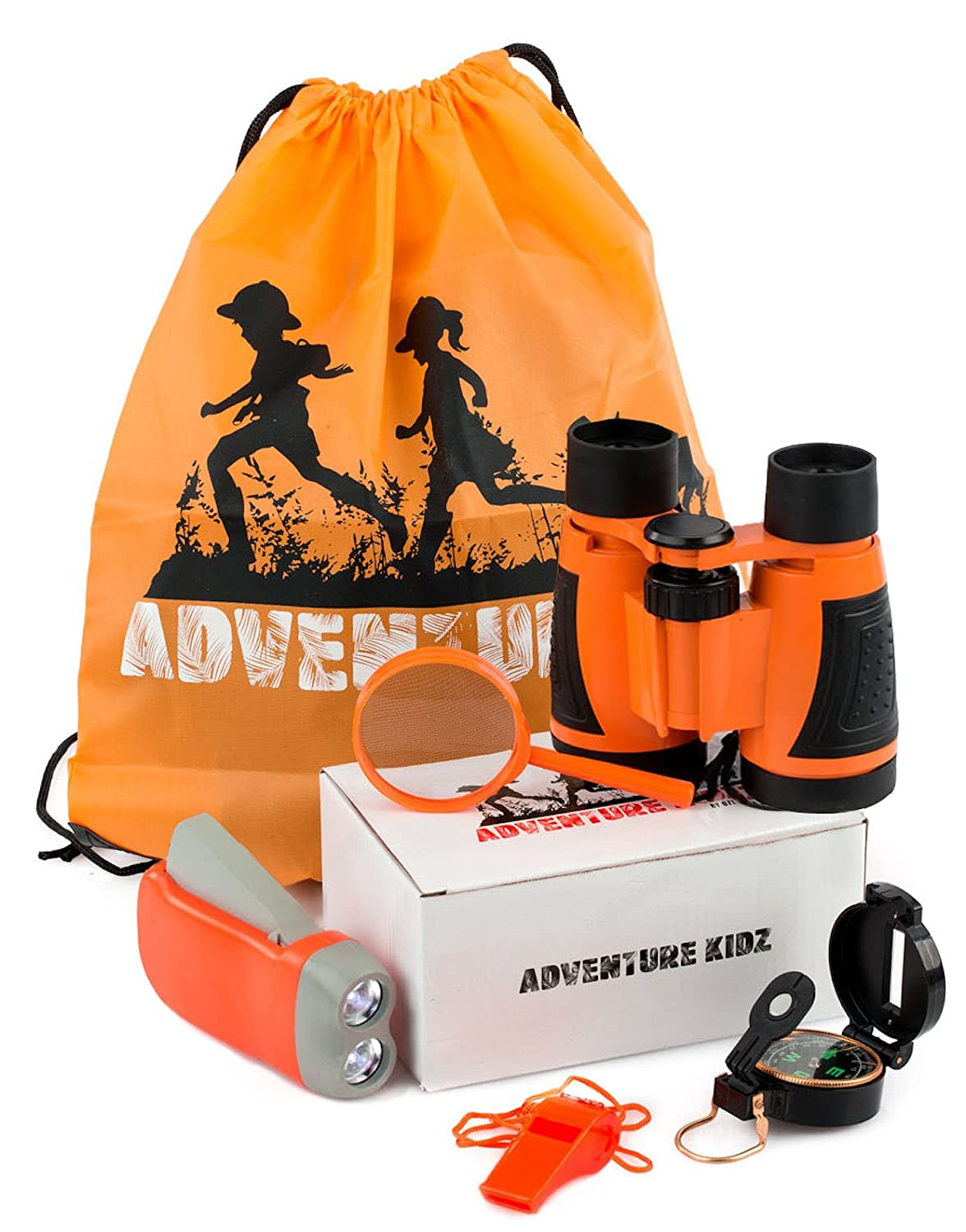 image of an adventure set including a pair of binoculars, a flashlight, a magnifying glass and a drawstring bag in orange hue