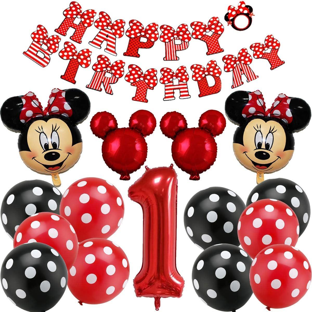 Decoraciones de cumpleaños de Mickey Mouse, BESTZY Globos número para la Fiesta Temática de Mickey Mouse Artículos de Fiesta de Mickey y Minnie para Primer Cumpleaños