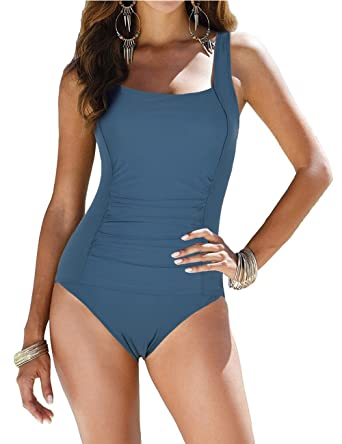 d7782f16fe Firpearl Women s Backless One Piece Bathing Suit Ruched Tummy Control  Swimsuit Aquamarine Blue US6