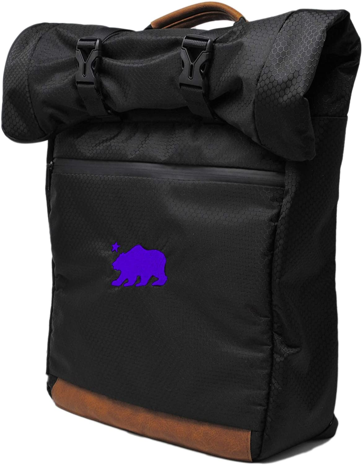 Cali Crusher 100 Smell Proof Roll Top Backpack - Water Proof - Hydroponics Black Purple