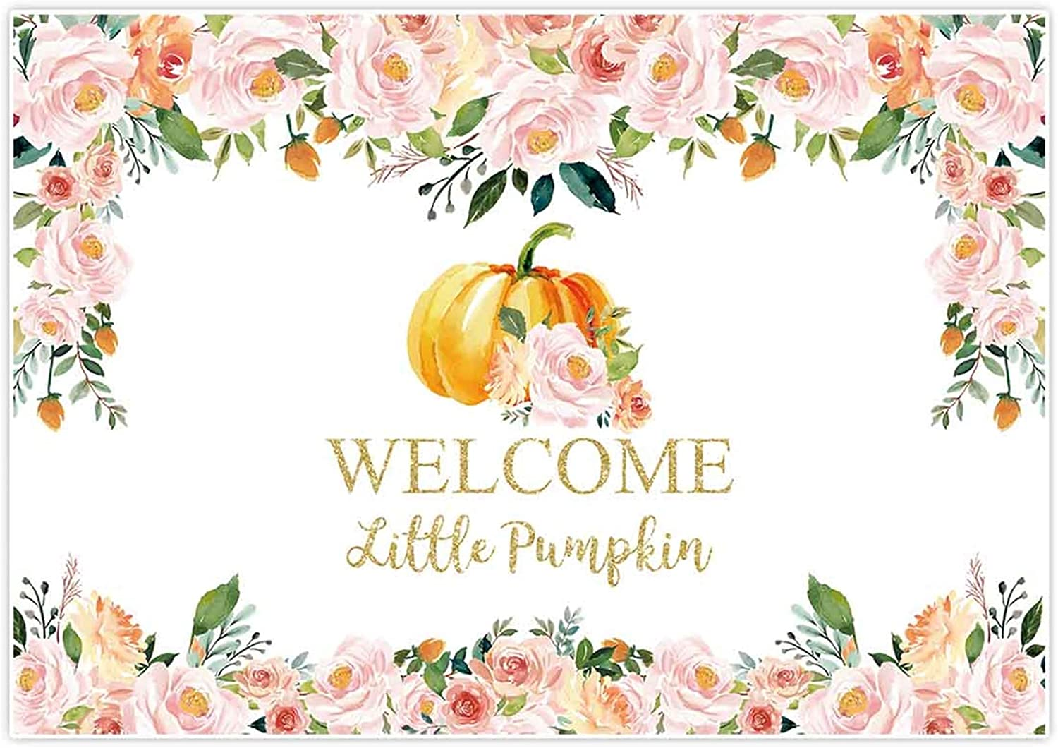 New 7x5ft Halloween Baby Shower Backdrop Girl 1st Birthday Onederland Fall Autumn Photography Background Party Decorations Banner Decor Welcome Little Pumpkin Pink Floral Studio Photo Booth