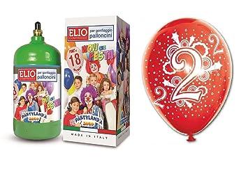 Bombona gas helio + 18 globos surtidos de 2.º cumpleaños ...