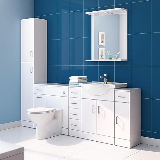 iBathUK Tall Gloss White Bathroom Cupboard Reversible Storage ...