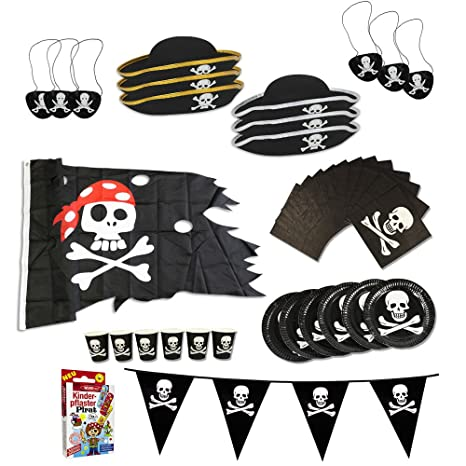 COM-FOUR® Pirate Birthday Party Set per un massimo di 6 bambini - cappello 460ffc8240b0