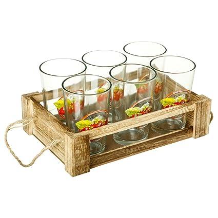2 en 1: – Estuche de 6 vasos de Naranjada + caja de madera para