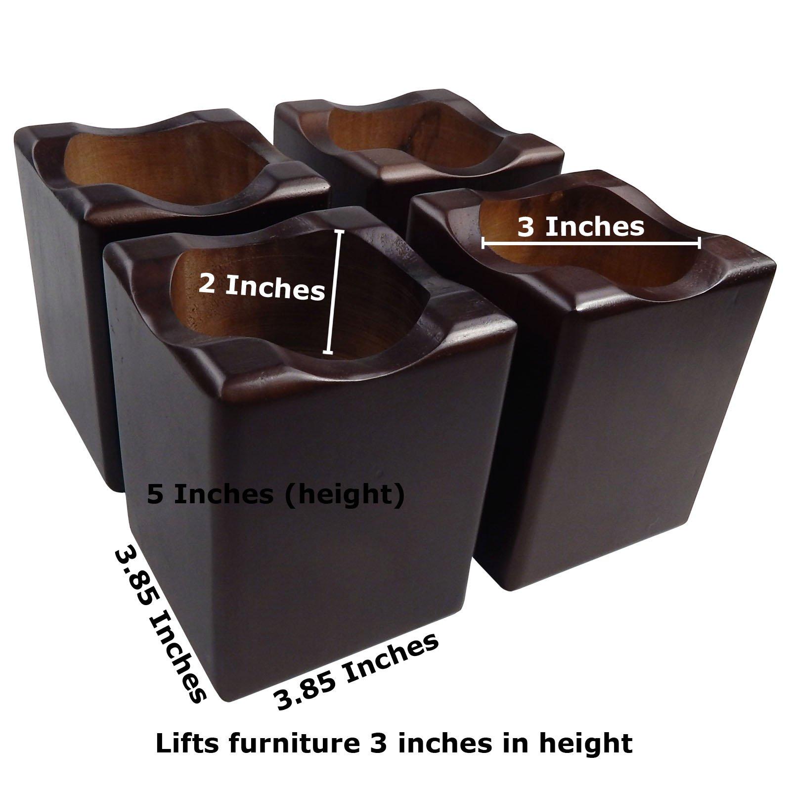 Tomokazu Ruckman Solid Wood in Walnut Finish 3 Inch Sofa, Table, Bed Riser/Furniture Lifter (Set of 4) by Tomokazu (Image #1)