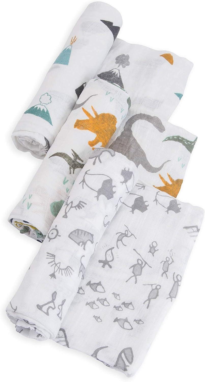 Little Unicorn Cotton Muslin Swaddle Blankets Set Of 3 Dino Friends Blue Green Navy Baby