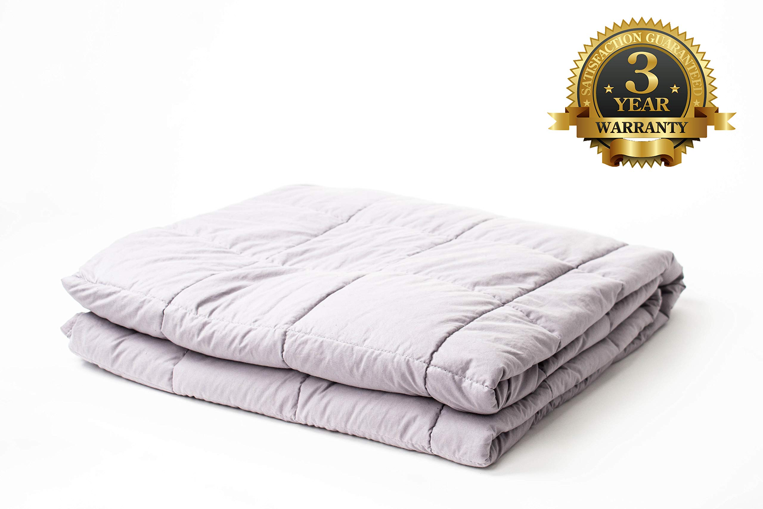 SYC & CO Premium Weighted Blanket & 100% Cotton Removable Cover Gravity 20LBS 60x80 Calming Heavy Blankets Therapy Full Size for Adults with Free Travel Bag
