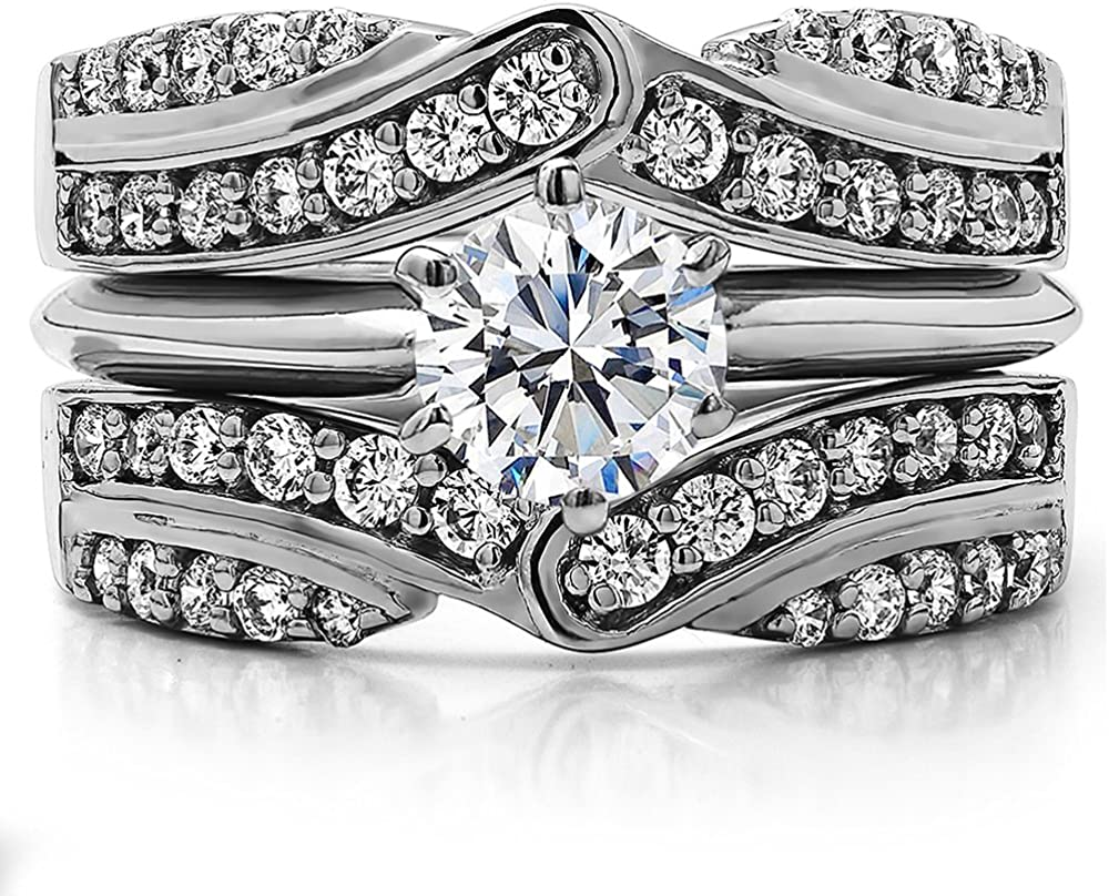 TwoBirch Sterling Silver Infinity Bypass Engagement Ring Guard With Cubic Zirconia 3//4 ct.