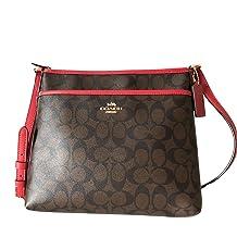 Coach Signature Zip File Crossbody Bag (Brown Ruby)