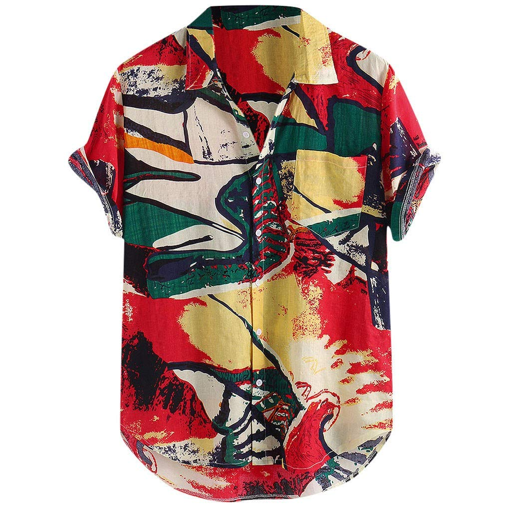 Men's Loose Fit Hawaiian Flower Printed Aloha Shirt Casual Button Down Beach Tee with Pocket Red by Jhualeek