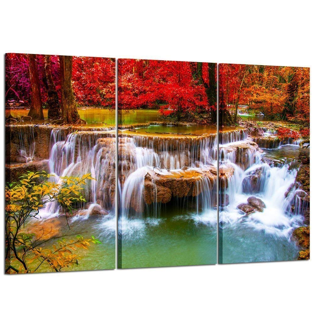 Kreative Arts Large Canvas Print for Living Room Decoration Stretched 3 Pieces Green Dreamlike Waterfall Painting Wall Art Picture Print on Canvas High Definition Modern Home Decor 16x32inchx3pcs